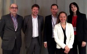 Der neue Vorstand der Deutschen Parkinson Gesellschaft: Prof. Manfred Gerlach, Prof. Jens Volkmann, PD Dr. Georg Ebersbach, Prof. Daniela Berg und Dr. Carla Eggert (von links). Foto: DPG